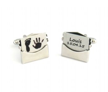 Baby Hand and Foot Print Envelope Cufflinks - Unique Personalised Father's Day or 1st Christmas Gift